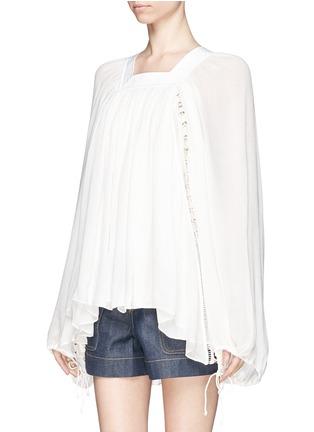 正面 -点击放大 - CHLOÉ - Ladder stitch embroidery silk gauze blouse