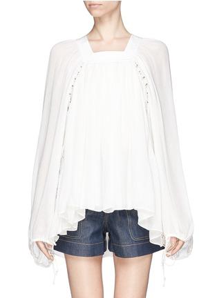 首图 - 点击放大 - CHLOÉ - Ladder stitch embroidery silk gauze blouse