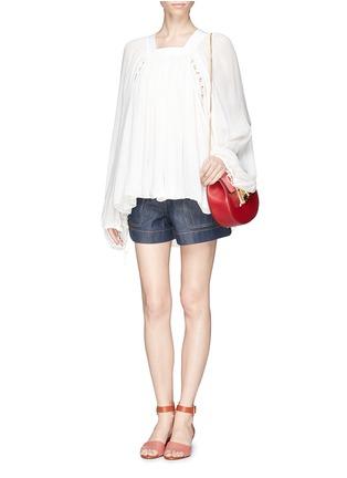 模特儿示范图 - 点击放大 - CHLOÉ - Ladder stitch embroidery silk gauze blouse