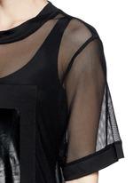 Glossy logo tiered mesh maxi dress