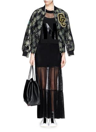 - NICOPANDA - Glossy logo tiered mesh maxi dress