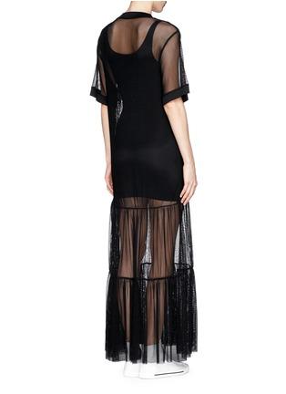 NICOPANDA-Glossy logo tiered mesh maxi dress