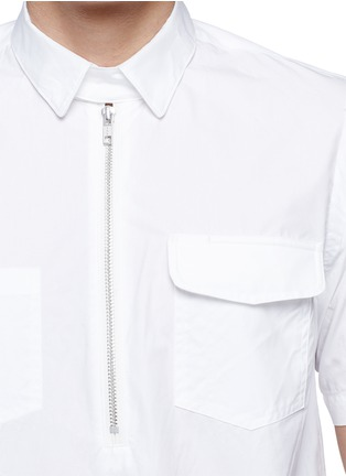 Detail View - Click To Enlarge - Sacai - Zip placket cotton poplin shirt