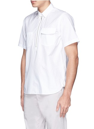 Front View - Click To Enlarge - Sacai - Zip placket cotton poplin shirt