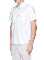 Zip placket cotton poplin shirt
