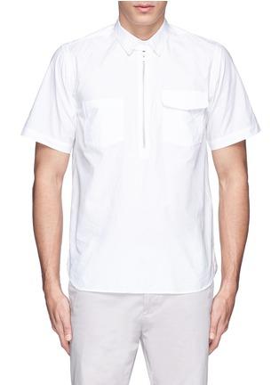 Sacai-Zip placket cotton poplin shirt
