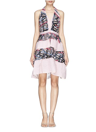 Main View - Click To Enlarge - Peter Pilotto - Circuit V' cloqué wave jacquard peplum dress