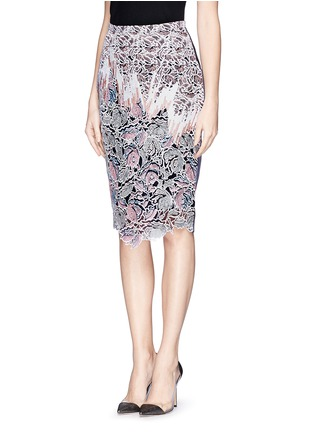 Peter Pilotto - 'Vector' floral appliqué silk pencil skirt