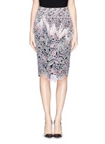 'Vector' floral appliqué silk pencil skirt
