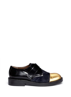 MARNI Metallic toe cap calf hair leather shoes
