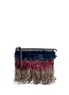 MARNI Mixed feather clutch