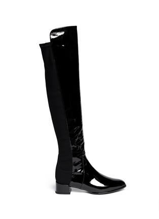 Main View - Click To Enlarge - Stuart Weitzman - 'Fifo' elastic back patent leather boots