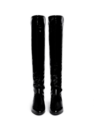 Figure View - Click To Enlarge - Stuart Weitzman - 'Fifo' elastic back patent leather boots