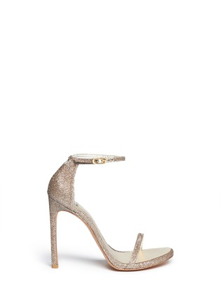 Main View - Click To Enlarge - Stuart Weitzman - 'Nudist' lamé sandals