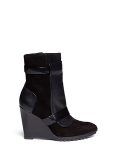 10 CROSBY DEREK LAM 'Karli' leather panel suede wedge boots