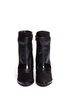 10 CROSBY DEREK LAM'Karli' leather panel suede wedge boots