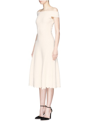 Front View - Click To Enlarge - Alexander McQueen - Lace jacquard off-shoulder dress