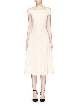 Main View - Click To Enlarge - Alexander McQueen - Lace jacquard off-shoulder dress