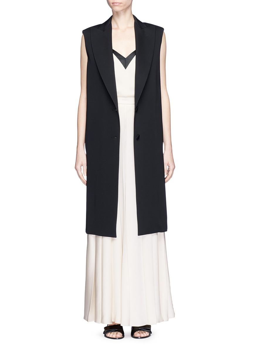 Padded shoulder tailored oversized long vest by Lanvin