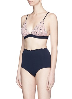 Marysia'Palm Springs' scalloped high waist bikini bottoms
