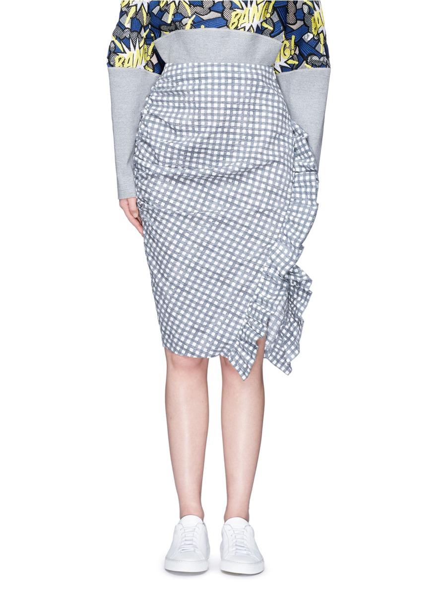 Ruffle trim check print skirt by Dawei
