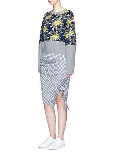 DaweiRuffle trim check print skirt