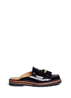 Stuart Weitzman 'Outnup' tassel patent leather slide loafers