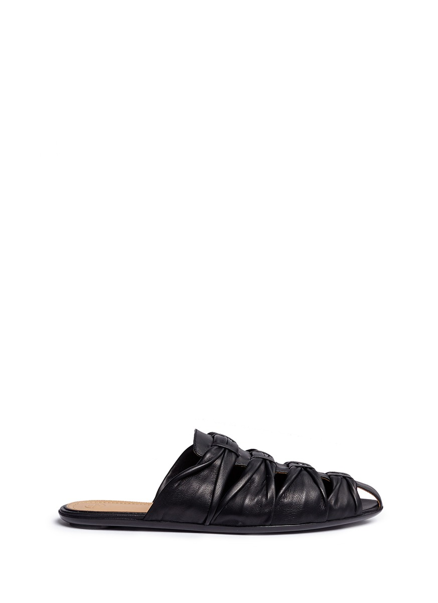 Capri knotted nappa leather slide sandals by The Row