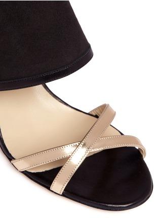 Detail View - Click To Enlarge - Alexander White - 'Hanna' metallic tassel tie suede sandals