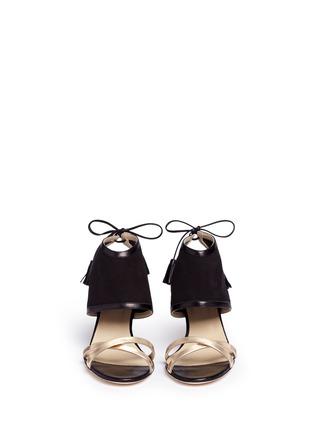 Front View - Click To Enlarge - Alexander White - 'Hanna' metallic tassel tie suede sandals