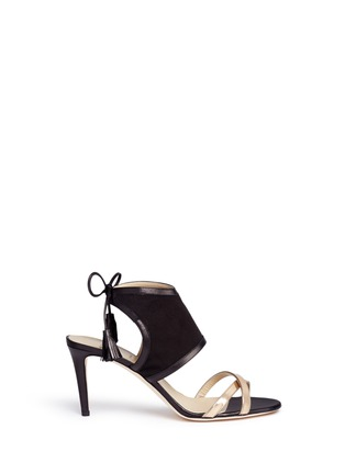 Main View - Click To Enlarge - Alexander White - 'Hanna' metallic tassel tie suede sandals