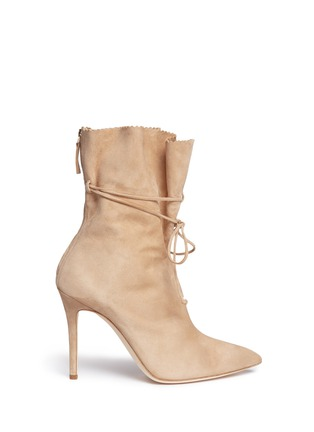 Main View - Click To Enlarge - Alexander White - 'Camille' wraparound ankle tie suede boots