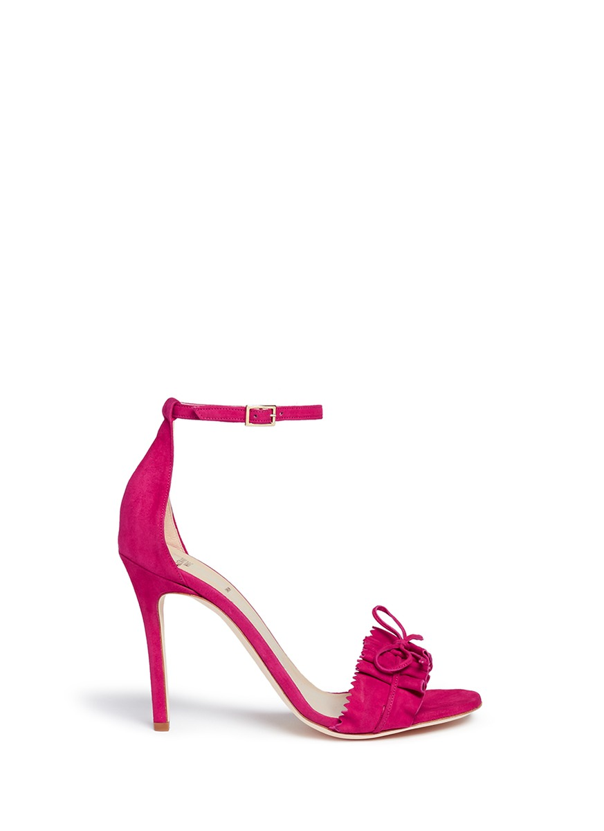 Eva bow tie ruffle front suede sandals by Alexander White