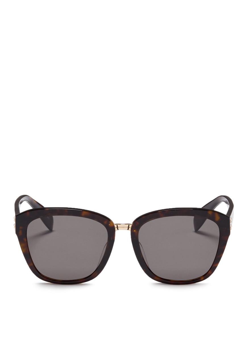 Metal bridge tortoiseshell acetate square sunglasses by Alexander McQueen