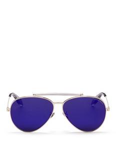 Alexander McQueen'Piercing Pilot Frame' metal aviator mirror sunglasses