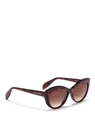 Figure View - Click To Enlarge - Alexander McQueen - Shell effect acetate cat eye sunglasses