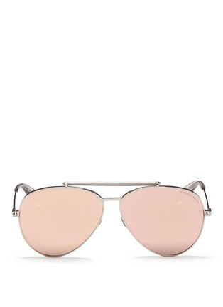 Main View - Click To Enlarge - Alexander McQueen - 'Piercing Pilot Frame' metal aviator mirror sunglasses