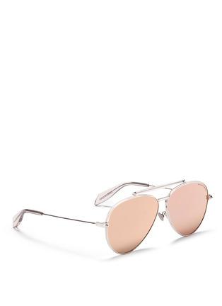 Figure View - Click To Enlarge - Alexander McQueen - 'Piercing Pilot Frame' metal aviator mirror sunglasses