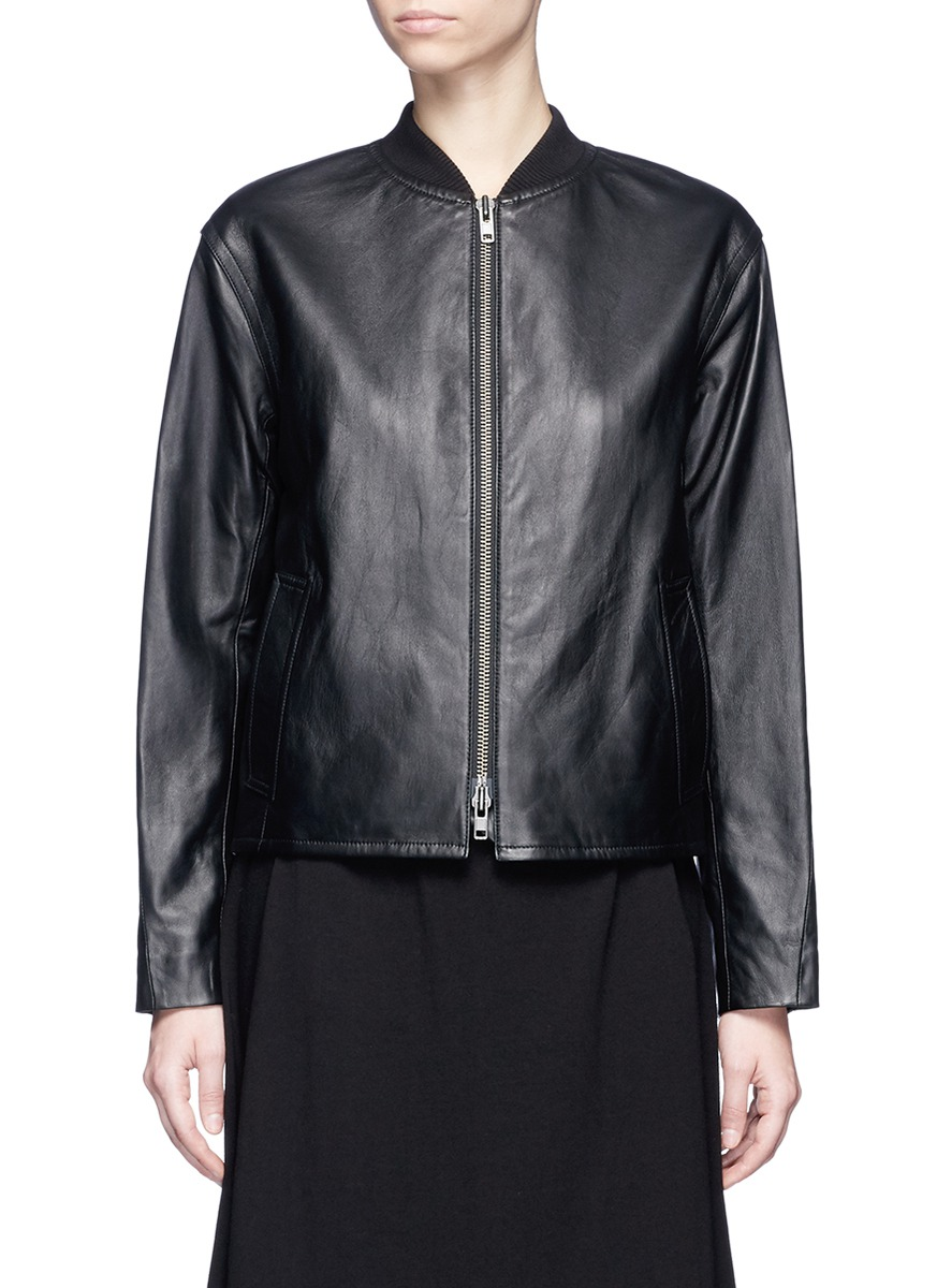 Sheepskin leather bomber jacket by Vince