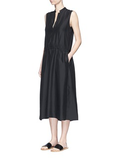 Vince Ruched silk sleeveless dress