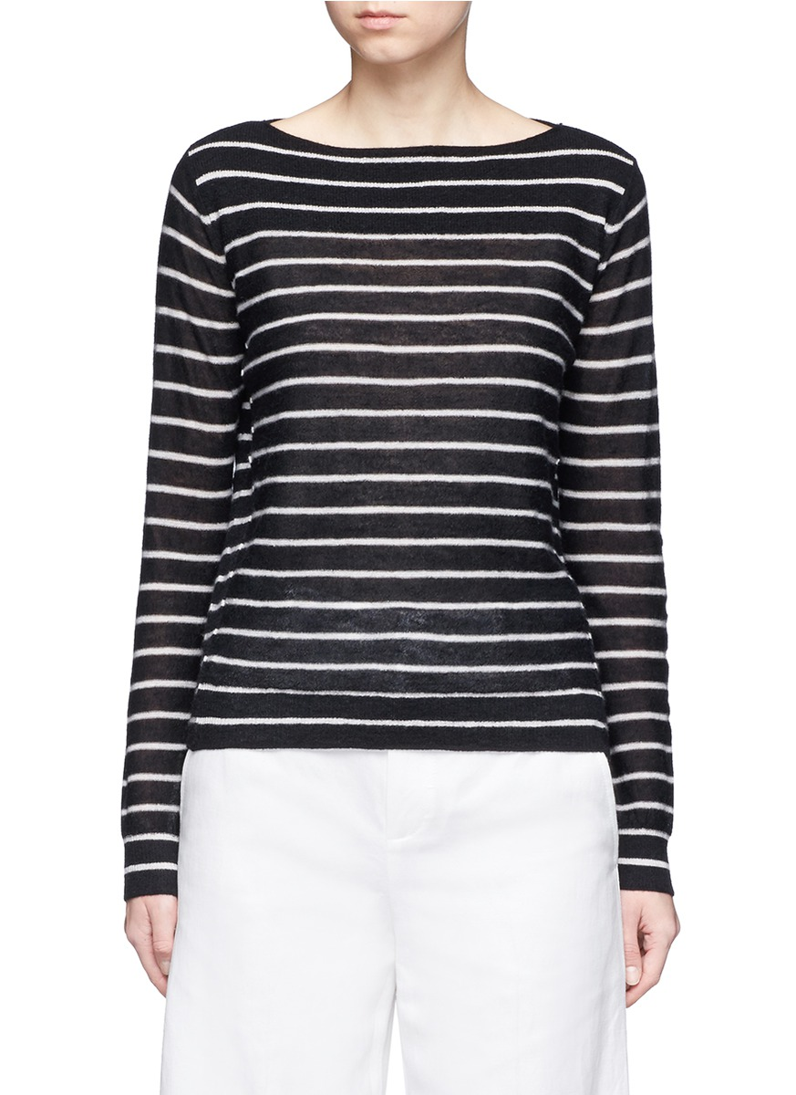 Stripe boat neck cashmere sweater by Vince
