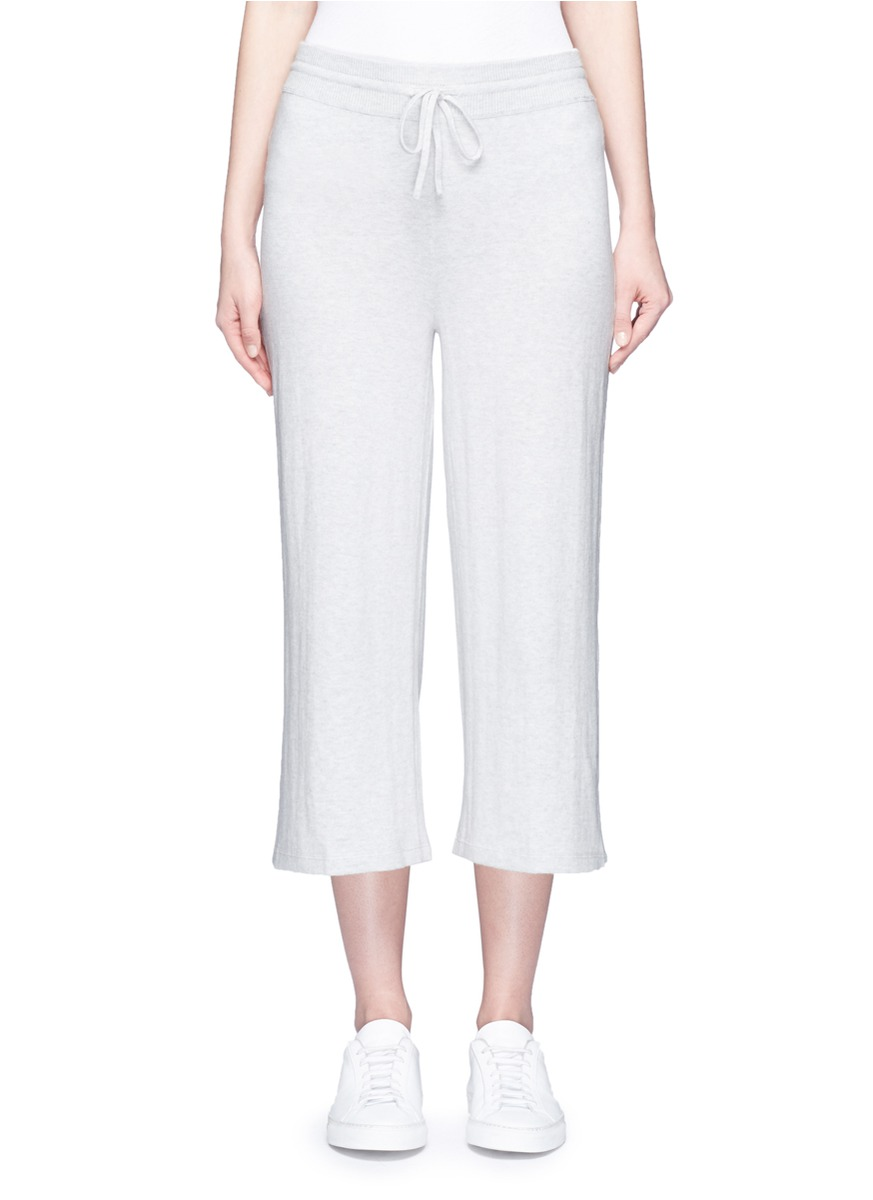 Drawstring waist cotton knit culottes by Vince