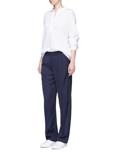 VinceTrapunto stitch cotton lawn blouse