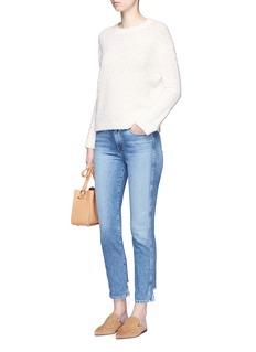 VinceTextured Merino wool blend open knit sweater