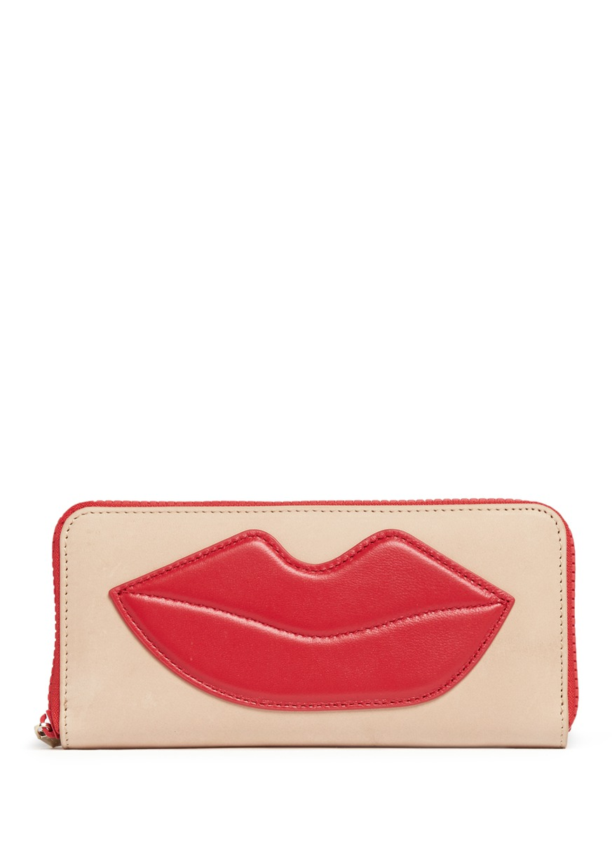 Lip patch leather continental wallet by alice + olivia