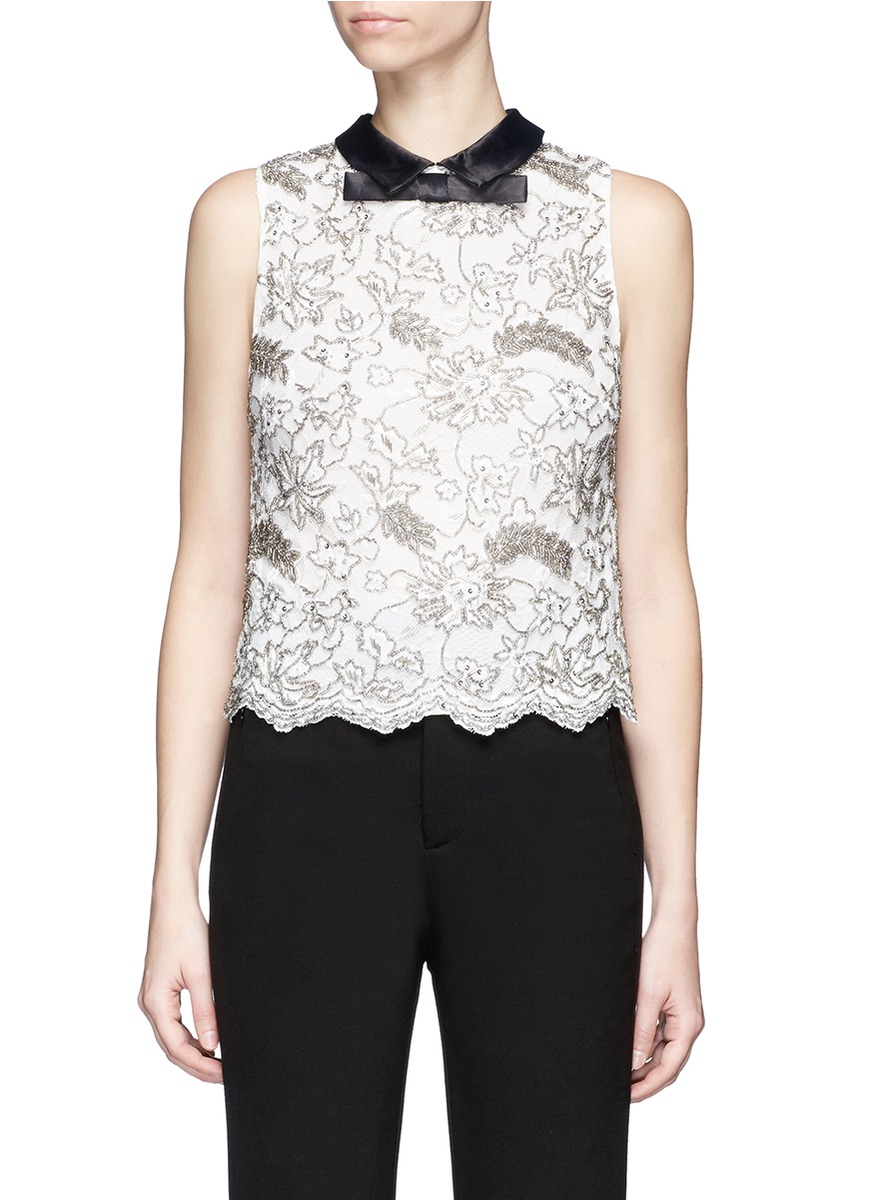 Manie satin collar embellished floral lace top by alice + olivia