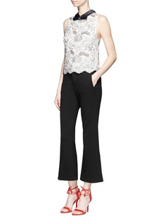 alice + olivia 'Manie' satin collar embellished floral lace top