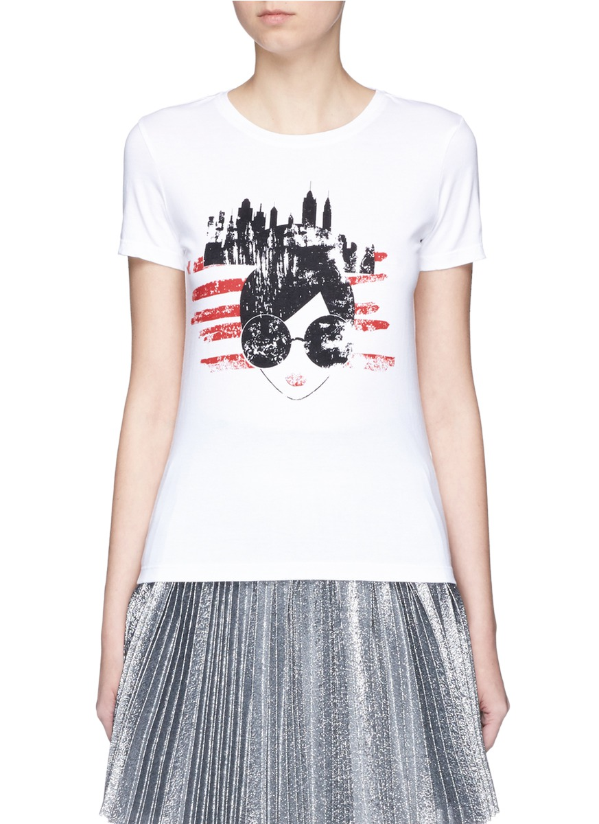Stace Face New York City print T-shirt by alice + olivia