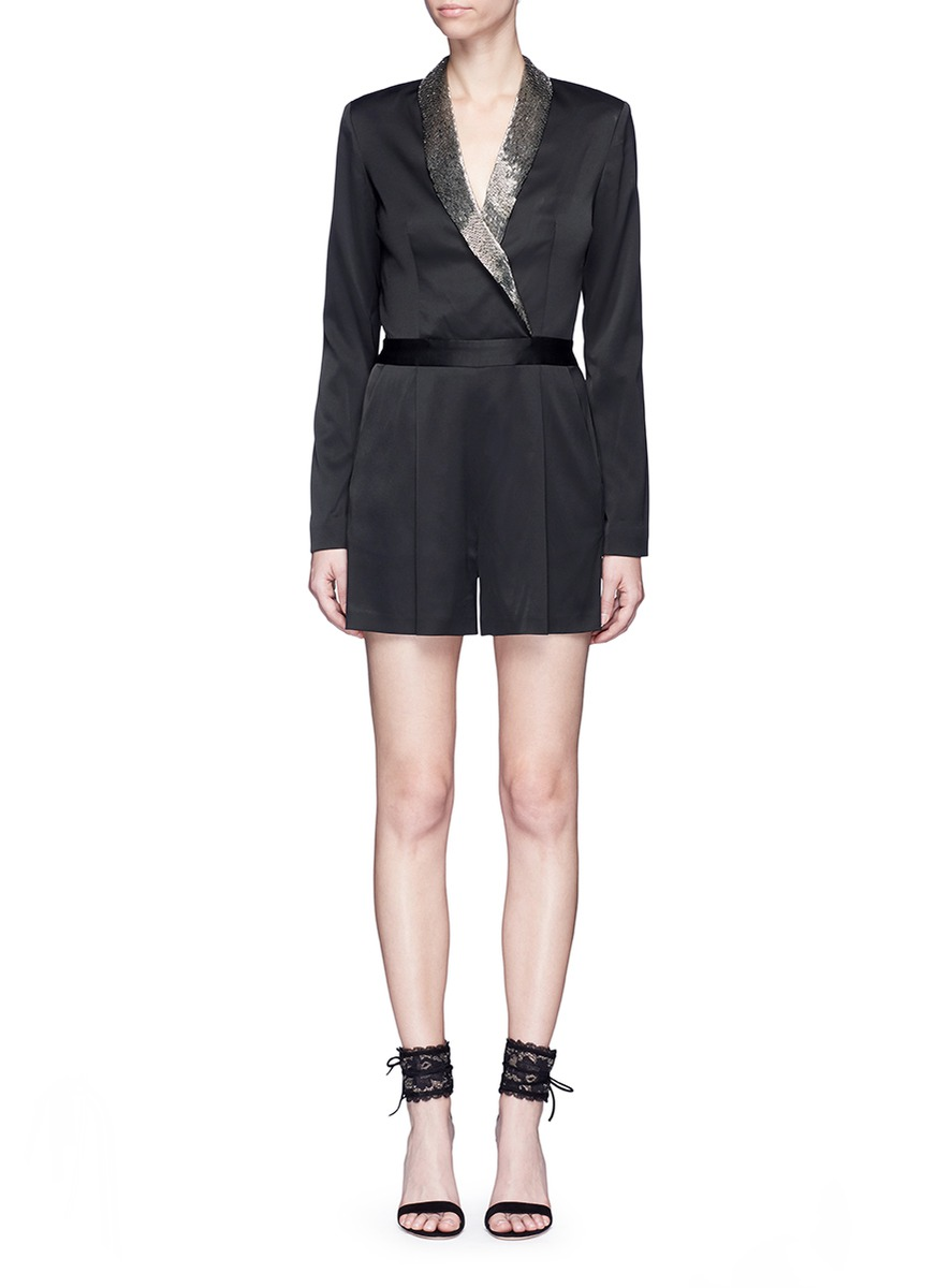 Kyrie embellished lapel satin rompers by alice + olivia