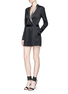 alice + olivia 'Kyrie' embellished lapel satin rompers